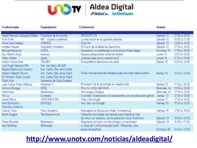 Aldea Digital Vs Analfabetismo Digital Programa 11 al 27 abril by Carlos Vargas H via slideshare Programa en México D.F Presencial o Vía Web http://www.unotv.com/noticias/aldeadigital/