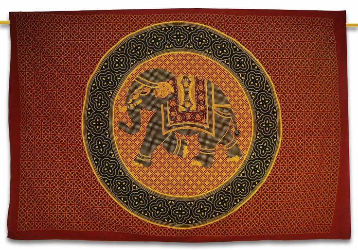 Beautiful Indian Screen Printed Cotton Elephant Printed Tapestry or Bed Cover in Twin Size ..this is img