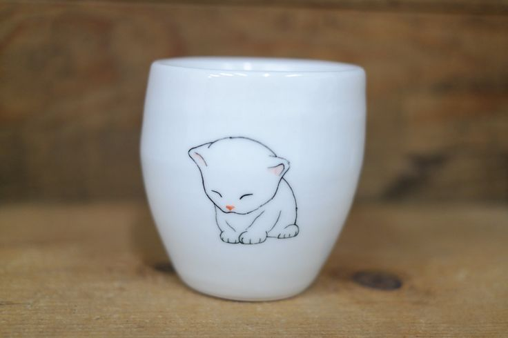 Hand painted animal cup - Cute cup -Cat cup- unique cup - Cat small cup - baby cat by CreativeStoneCera on Etsy
