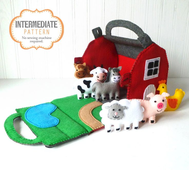 Barn and Farm Animals Pattern, Red Felt Barn, Felt Barnyard Animals Sewing Pattern, Hand Sewing by LittleSoftieShoppe on Etsy https://www.etsy.com/listing/252410091/barn-and-farm-animals-pattern-red-felt