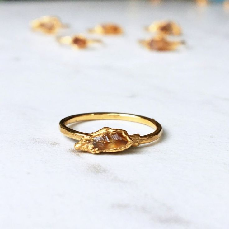 Rough Citrine Ring, Raw Stone Ring, November Birthstone Ring