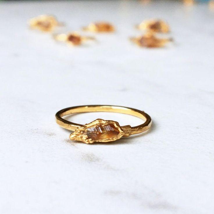 Rough Citrine Ring, Raw Stone Ring, November Birthstone Ring