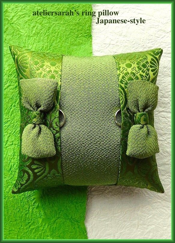 Japanese-style ring pillow of green tea color