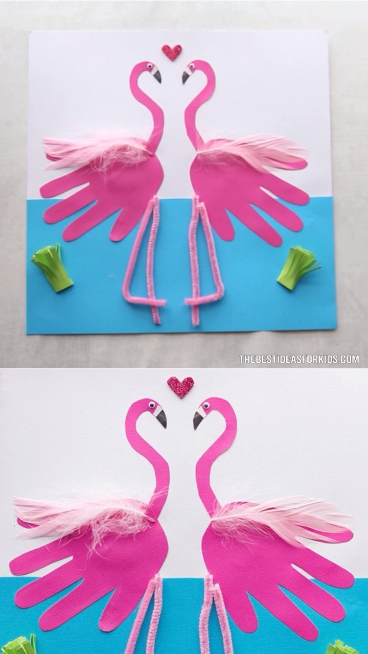 FLAMINGO HANDABDRÜCKE 💕 #bastelnkinder notes2…