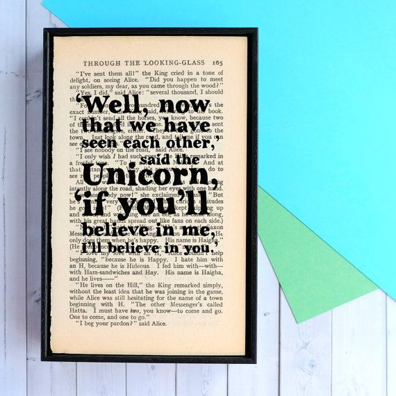 Alice in Wonderland Unicorn Quote Framed Book Page by BookishlyUK