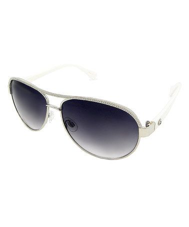 This White Etched Aviators by Big Buddha is perfect! #zulilyfinds