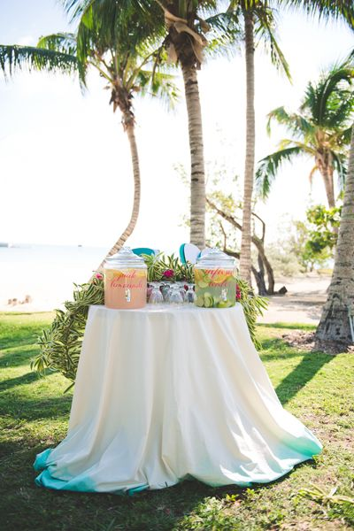 Refreshment Station with Dip Dyed Linens for a Tropical Beach Wedding
