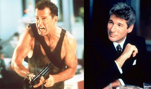 Bruce Willis as John McClane in Die Hard and a picture of Richard Gere. The truth is Richard Gere was offered the role of John McClane in Die Hard before Bruce Willis got the part, but he turned it down and it later became Bruce's most defining roles. Gere later worked with Willis in The Jackal nine years later and had a big feud with him after the movie ended. I don't know why?
