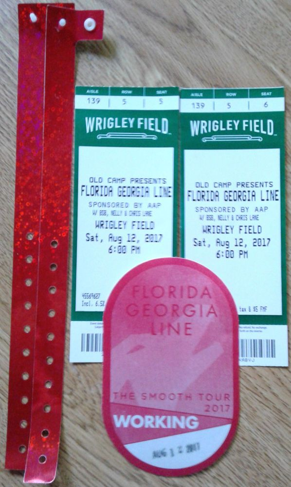2-5th Row Florida G.Line,Nelly,BSB,Chris Lane Wrigley Field Tix From Aug12,2017  #ChicagoCubs