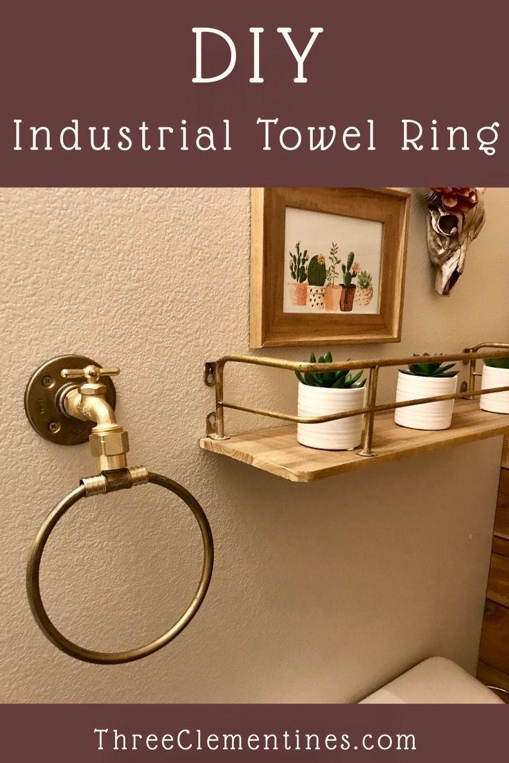 DIY industrial towel ring, bathroom decor, rustic, do it yourself, steampunk