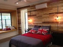 The recycled pallet wall.