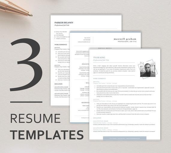 Resume Bundle Instant Download 3 Modern Resume Templates Etsy Resume Template Etsy Modern Cv Template Cv Template