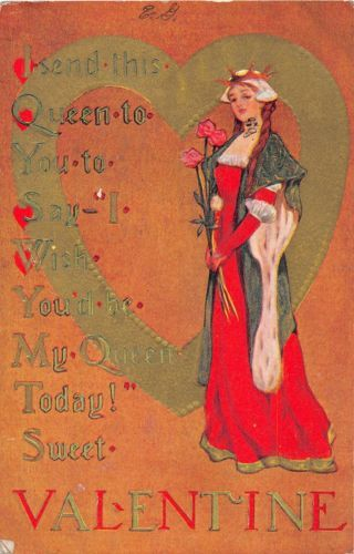 C2-Valentine-039-s-Day-Love-Holiday-Postcard-c1910-Woman-Queen-Heart-Gold-4