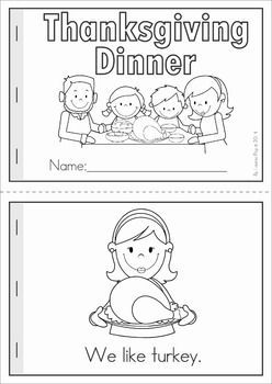Kindergarten Thanksgiving Math & Literacy Worksheets and Activities. A page from the unit: Thanksgiving Dinner booklet (color and B&W) with comprehension page.