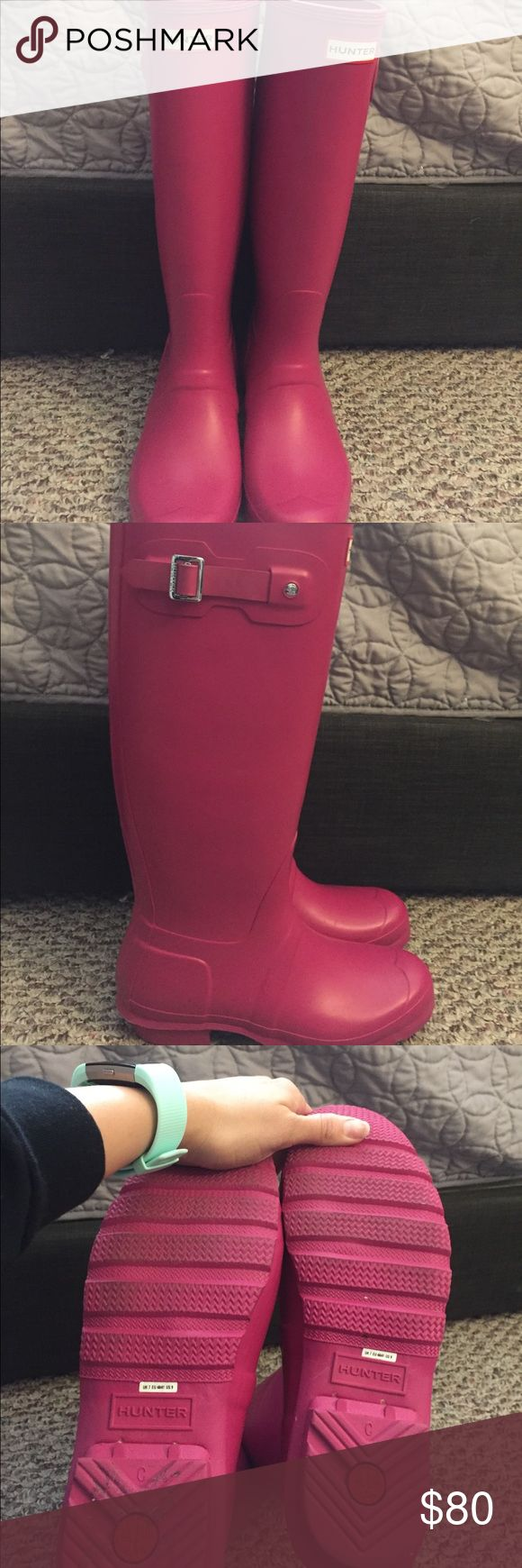 Hunter Rain Boots Raspberry tall Hunter Rain Boots. Excellent condition Hunter Shoes Winter & Rain Boots