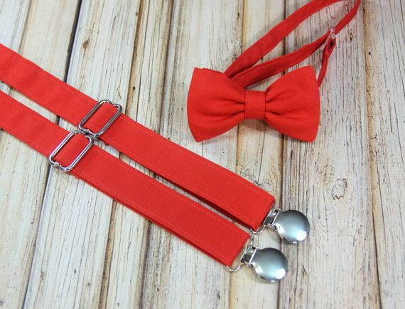 Tomato Red Persimmon Bow Tie and Suspenders set close match Davids Bridal Persimmon wedding (Men, boys, baby, toddler Suspender Bowtie