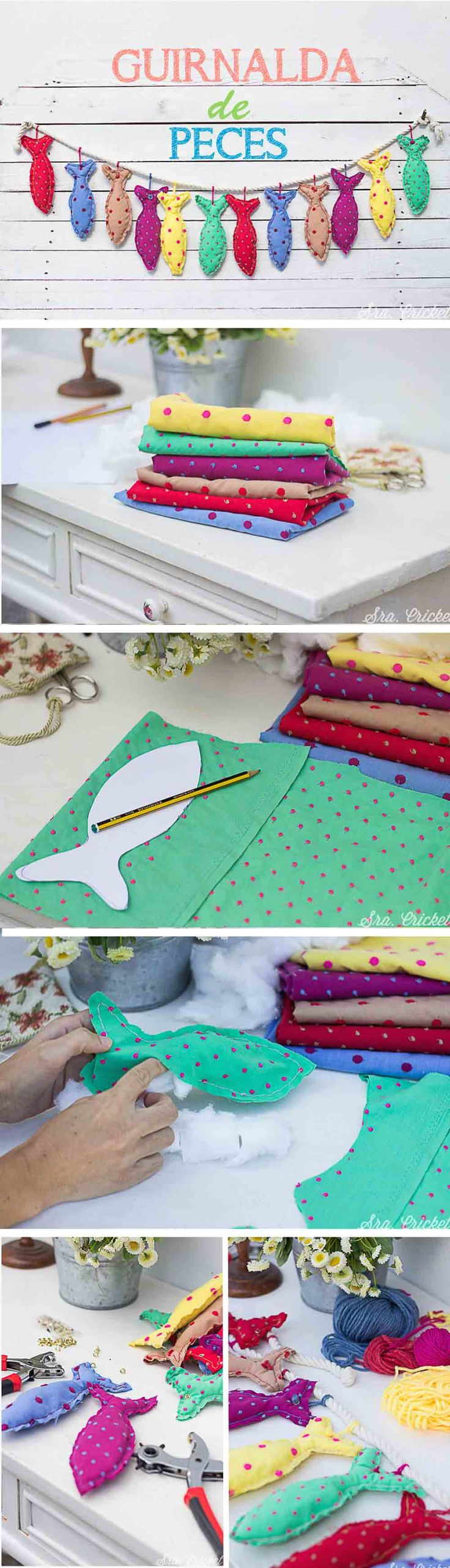 Guirnalda de peces de tela #cojinesdepeces #pecesdetela #fabriccrafts #garland #kidsgarland #kidsdecoration