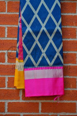 Blue Kuppadam Saree with Ikat Diamond Pattern and Pink/Yellow Borders - Aliveni - 1