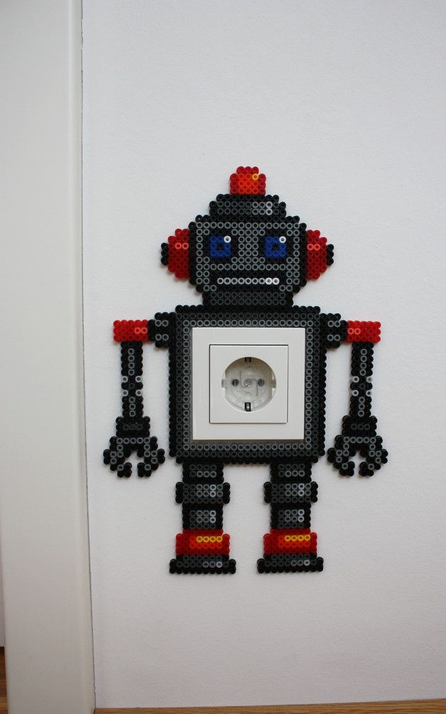Robot light switch frame hama beads by Heissgeliebt