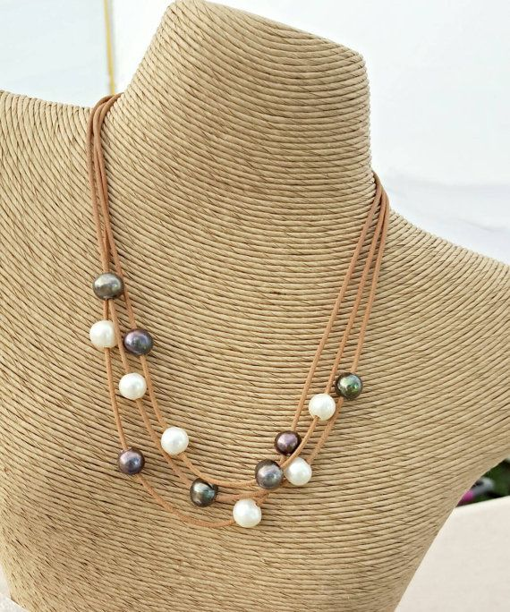 Multi strand pearl leather necklace on leather - 3 strand pearl necklace - black white pearl necklace - leather bridal jewelry - floating