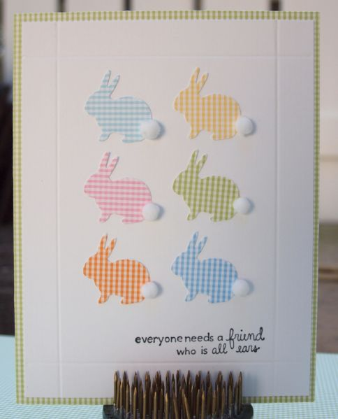 handmade card ... pastel bunnies ... different wsentiment could change it from a friend card to an Easter card ...