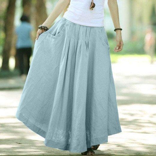 Silver Grey women skirt fashon skirts Long Skirts Linen Skirt. $48.50, via Etsy.