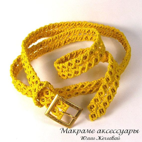 Macrame Belt Sunny Honey yellow beaded braided woman by makrame