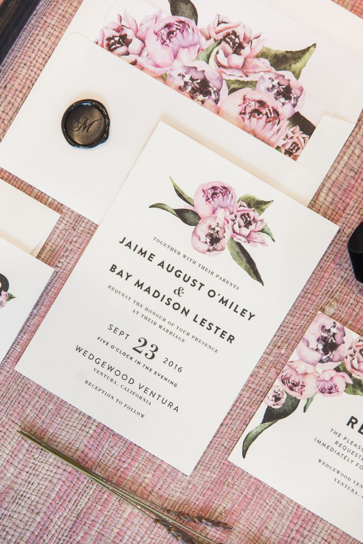 Floral abounds with Peony themed wedding invitation