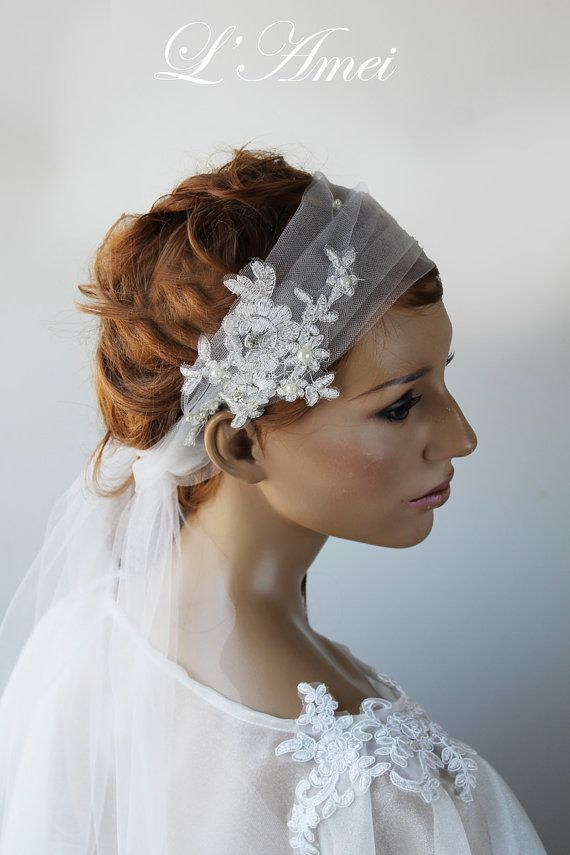 Wedding Hair Band with Rose Embroidered Organza TailWhite by LAmei, $75.00