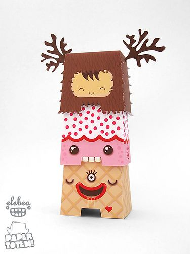 Paper totem pieces to download, print, and assemble via Dolly Oblong #paper #toys #illustration