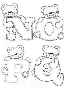 desenhos-alfabeto-ursinhos-enfeite-sala-de-aula-infantil-(4) - - alphabet and teddy coloring