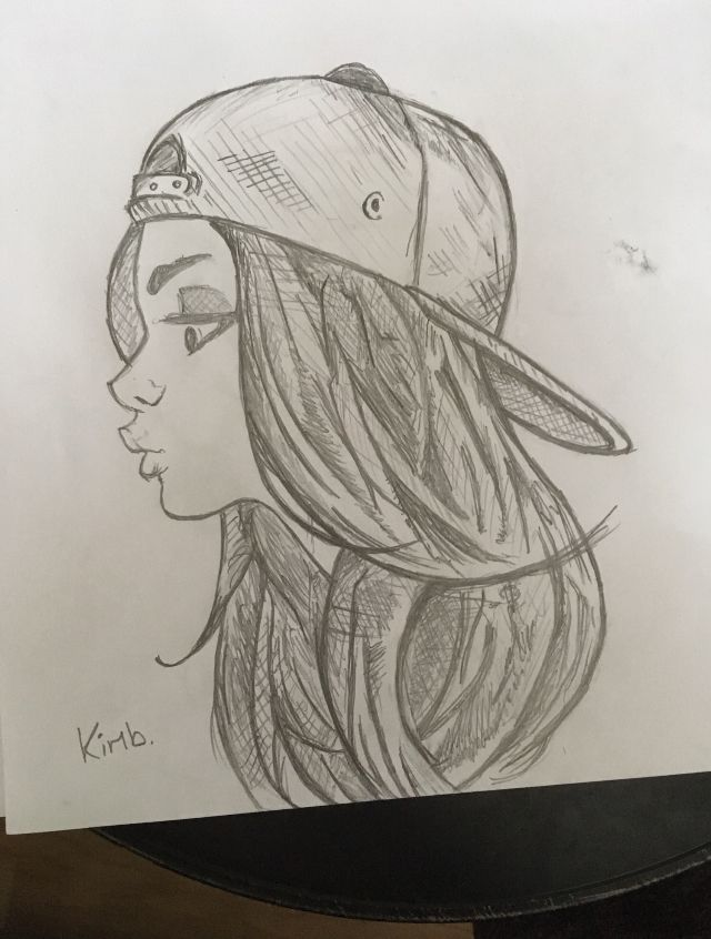 sketch girl swag art snapback cap yolo