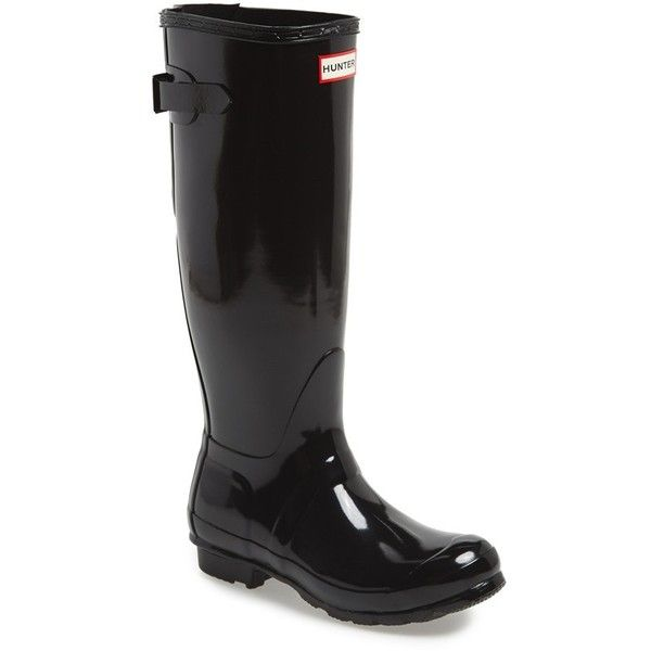 """Hunter Adjustable Back Gloss Rain Boot, 1"""" heel ($160) ❤ liked on Polyvore featuring shoes, boots, black, knee-high boots, black rain boots, black wellington boots, knee boots, hunter boots and low heel boots"""