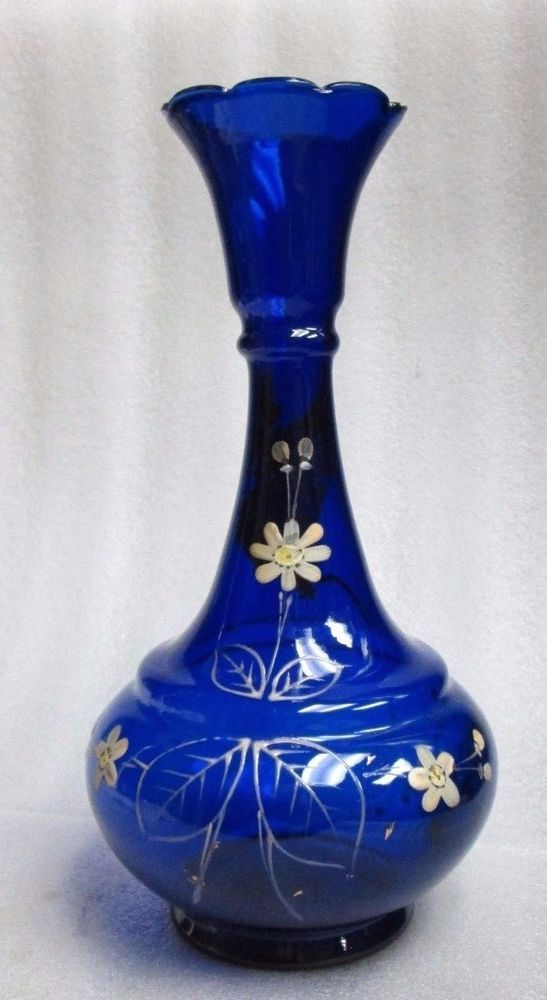 ANTIQUE VICTORIAN BOHEMIAN COBALT BLUE w WHITE Floral Enamel VASE circa 1900! #Bohemian #Victorian