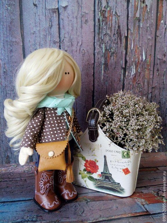 текстильная кукла - коричневый, кукла, кукла в подарок, купить подарок, купить, недорогой подарок