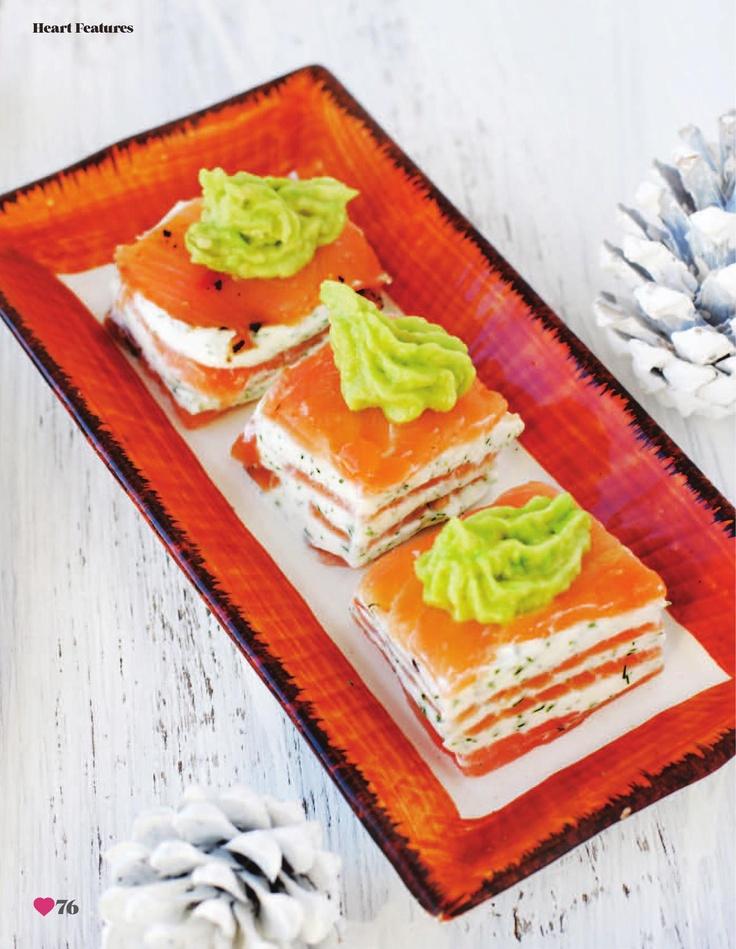 Smoked salmon and cream cheese stack via Heart Home magazine issue 6