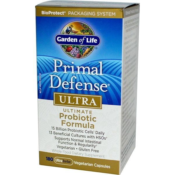Garden of Life, Primal Defense, Ultra, Ultimate Probiotic Formula, 180 UltraZorbe Vegetarian Capsules