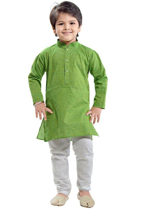 b6be9346c0 Parrot Green Kids Cotton Kurta Set   Kids Collection   Ethnic dress ...