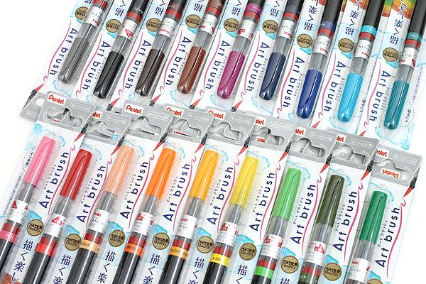 Pentel Art Brush Pens from Jetpens.com, in a huge range of colors. Like the Ninj water brush but filled with ink, wow. $8