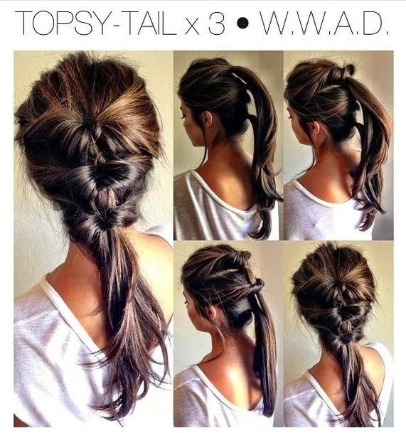 Slight edit because I struggled with this; I'm pathetic at doing my own hair. Do the first to twist as shown, but on the last gather all the hair into one pony tail and do one big twist. it looks nicer then if I try to do them as shown.