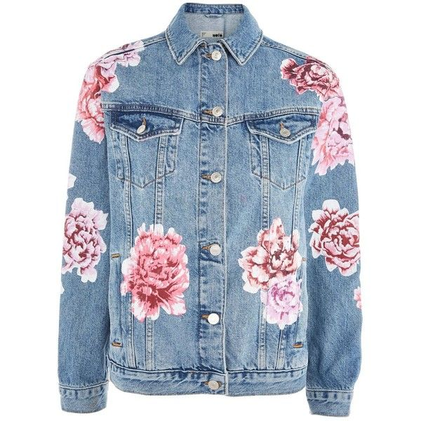 Topshop Moto Peony Painted Denim Jacket ($110) ❤ liked on Polyvore featuring outerwear, jackets, topshop, mid stone, floral print denim jacket, topshop jackets, flower print jacket, floral jacket and blue floral jacket