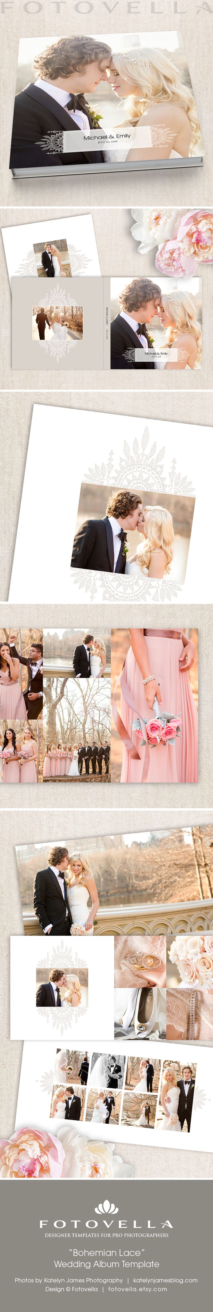 "Wedding album template • 12x12 and 10x10 • 15 spreads • 30 sides/pages • ""Bohemian Lace"" by FOTOVELLA • Featured images courtesy © Katelyn James Photography"
