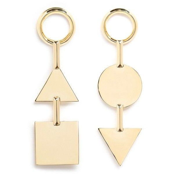 Eddie Borgo 'Mismatched Token' 12k gold plated earrings ($235) ❤ liked on Polyvore featuring jewelry, earrings, metallic, geometric jewelry, earring jewelry, geometric earrings, gold plated jewelry and earrings jewellery