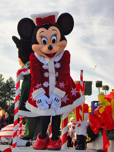 Minnie Mouse in the Christmas Parade at Disneyland Paris