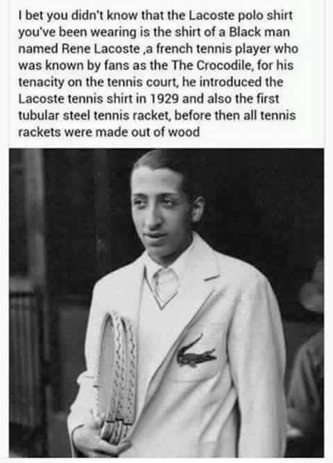 smidgetz:  ratedmirr:  jehovahhthickness:  baby-asia:  jehovahhthickness:  torisoulphoenix:  BOOOOOOOOOOOOOSSSSTTTTT!!!!!!!!!!! #littleknownblackhistoryfact  Lacoste is not for white people ….  i'm really confused cus i looked it up and this is his mother and this is his father?  Oh forreal?????? Shit nvm   He does look like he could black tho lol   Those are his children.   His mother is Jamaican