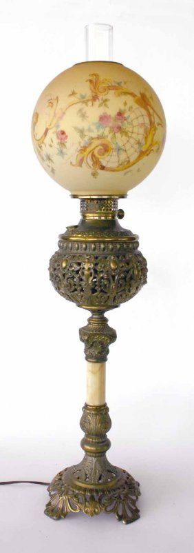 36: 19th C Banquet Lamp with Onyx Base : Lot 36