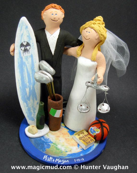 Lawyer Bride Wedding Cake Topper, Wedding Cake Topper for a Surfer Groom, Wedding Cake Topper for World Travellers, Surf Wedding Cake Topper    This photographed listing is but an example of what we will create for you....simply email or call toll free with your own info and pictures of yourselves, and we will sculpt for you a treasured memory from your wedding!  $235   #magicmud   1 800 231 9814   www.magicmud.com