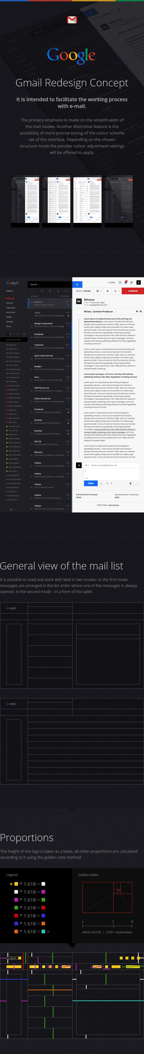 Gmail Redesign Concept by Ruslan Aliev, via Behance #appdesign #redesign