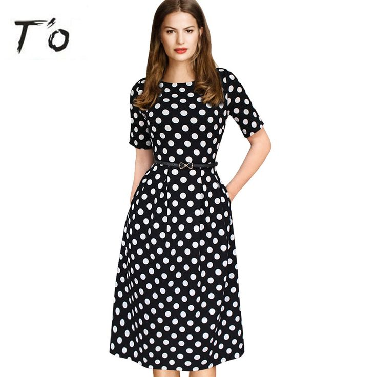 T'O Elegant Spring Fall Polka Dot Patchwork Tunic Pinup Half Sleeve Pocket High Waist Work Office Casual Party Skater Dress 225