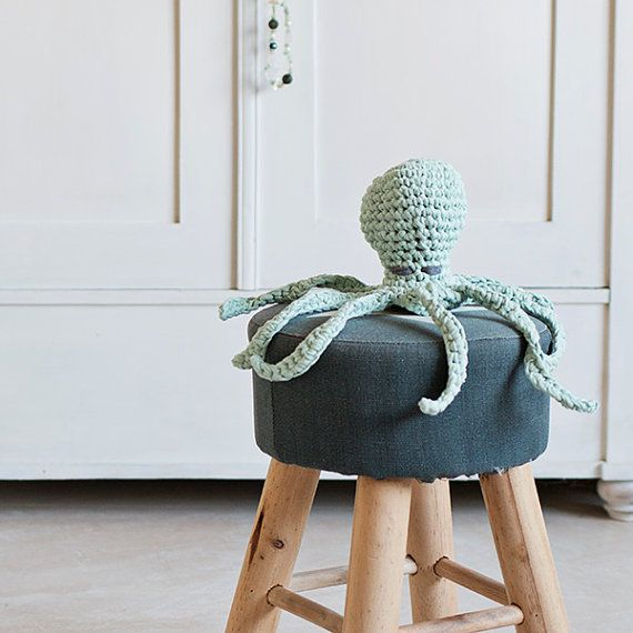 Mint green crocheted octopus made with eco yarn perfect for